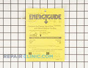 Label,energy guide - Part # 919216 Mfg Part # 154399002