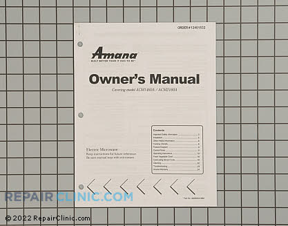Owner's Manual 12401532 Main Product View