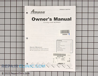 Owner's Manual 12401534 Main Product View