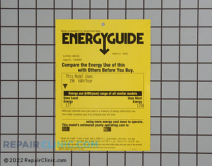 Energy guide 134186200       Main Product View