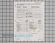 Tech sheet,elec drye - Part # 1021959 Mfg Part # RT3220006