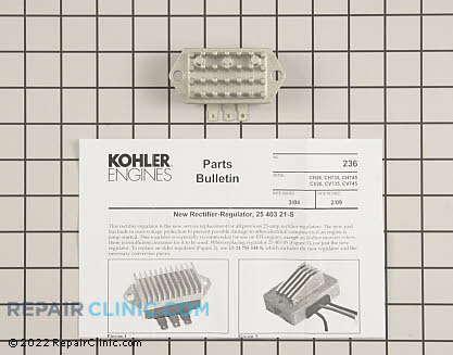 Voltage Regulator, Kohler Engines Genuine OEM  25 403 21-S