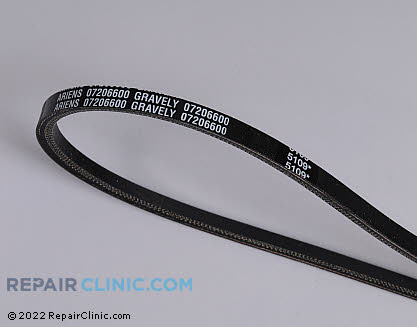 Belt: V-Belt, Ariens Genuine OEM  07206600