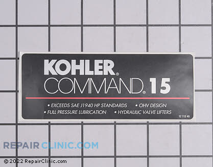 Decal, Kohler Engines Genuine OEM  12 113 46-S