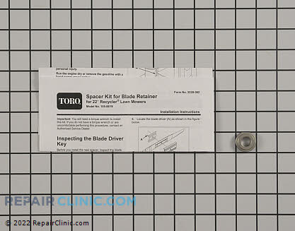 Kit-spacer retainer, Toro Genuine OEM  105-8619