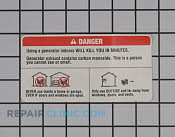 Label indoor use danger - Part # 1955678 Mfg Part # 940515001