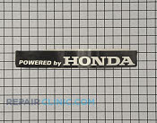 Label-powered by honda - Part # 1955715 Mfg Part # 940608001