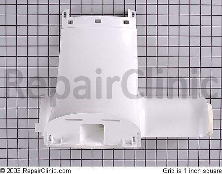 Refrigerator air inlet cover/damper kit with fan motor for a GE Profile refrigerator. Damper and fan assembly has been updated to prevent freezing in the refrigerator.  Click it to Git it, Hoss!