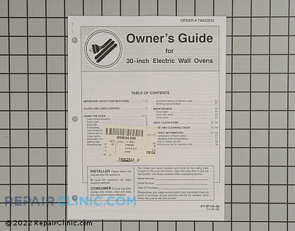 Owner's Manual 74002933 Main Product View