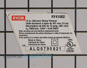 Label rating/warning - Part # 1950121 Mfg Part # RY41002-7