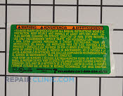 Decals and Labels - Part # 1990315 Mfg Part # 530402541