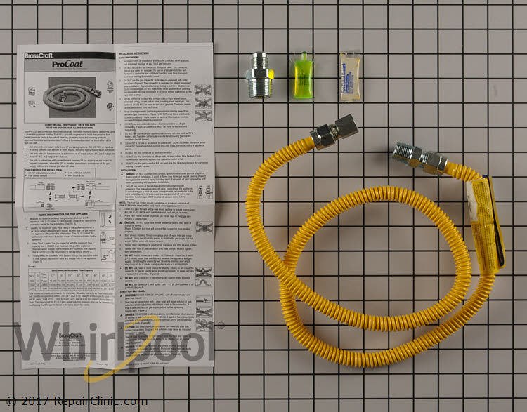 Gas line. 4 foot stainless gas dryer connector- Item Number WX09X10018