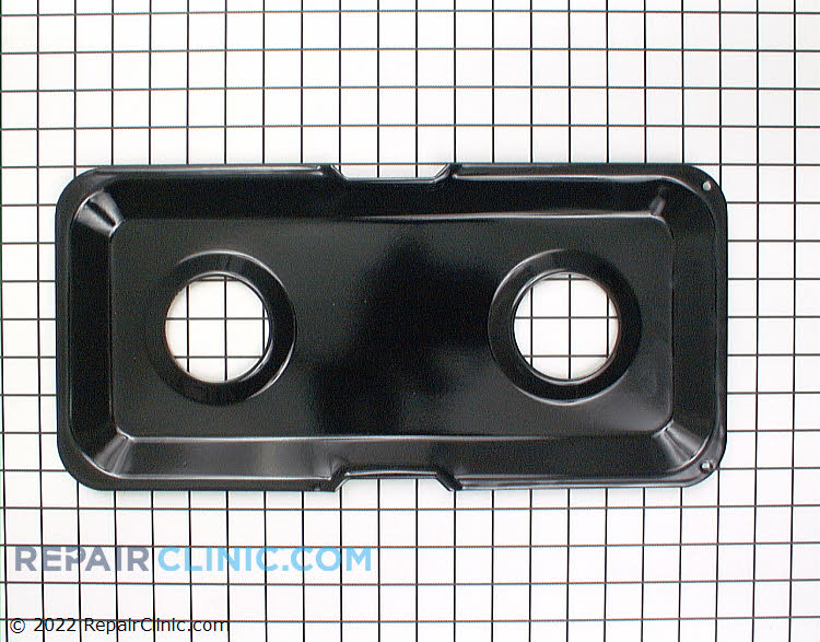 Stove burner drip pan, left side, black
