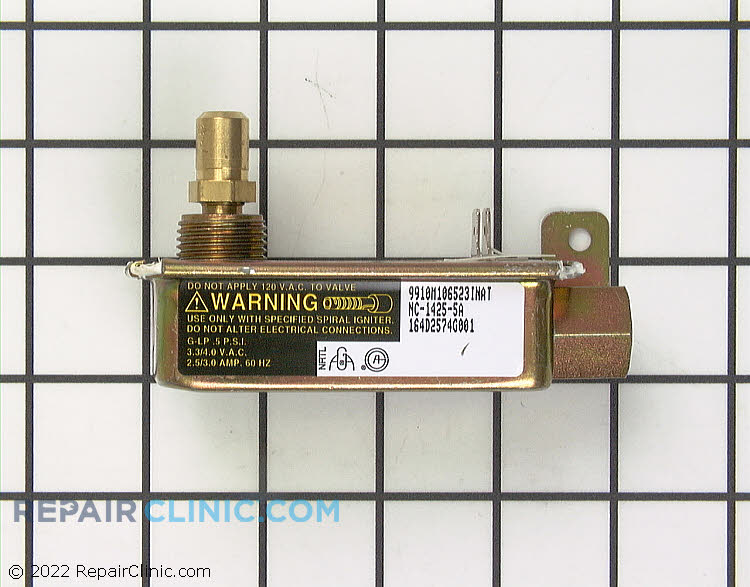Oven burner safety valve assembly. 2.5 to 3.0 Amp draw from igniter to open valve.