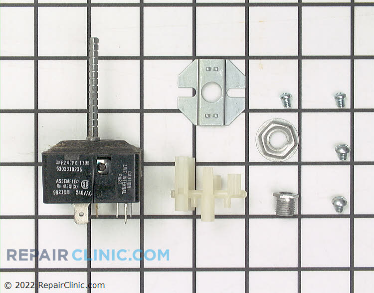 Range/stove surface element control switch repair kit. Compatible with a variety of models. The surface element switch sends voltage to the surface element coil. If the surface element is not heating, first test the surface element. If the element is not defective, the switch is likely at fault.
