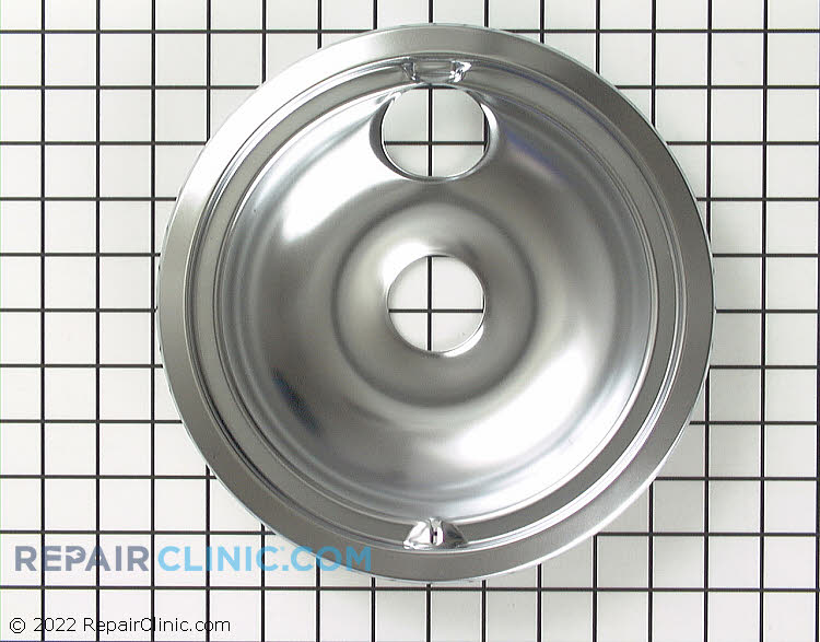 8 inch burner drip bowl (drip pan). This drip pan sits underneath the burner to catch drips or spills.