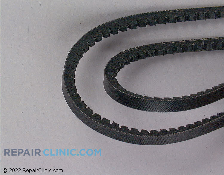 "Set of 2, belt lengths 21 5/8"", width 1/4"", characteristics, small ""v""- shaped cog-tooth"