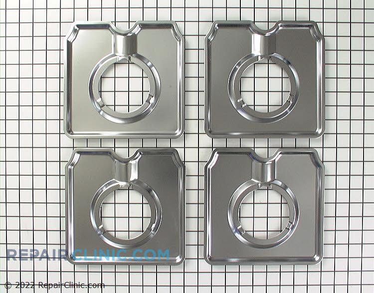 Surface burner drip pan set, chrome