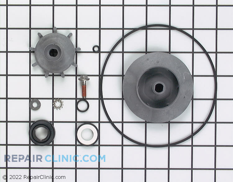 Dishwasher pump repair kit with seal, drain and wash impeller, o-ring, bolt, etc.