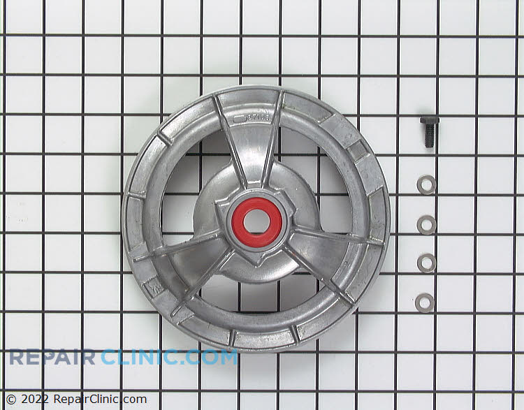 Transmission drive pulley with bearing, bolt and washers