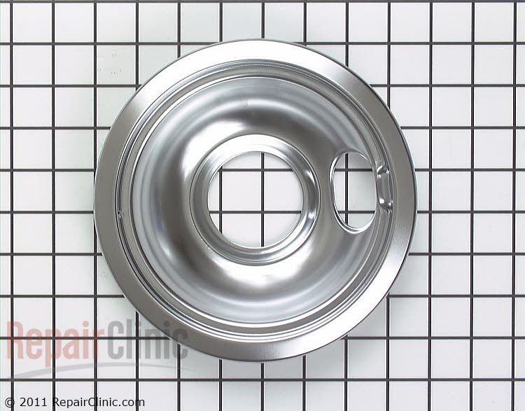Chrome drip bowl for 6-inch burner on electric range. This drip bowl sits underneath the burner to catch drips or spills.