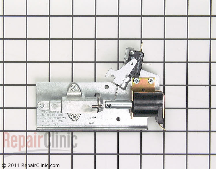 Door latch solenoid and switch assembly