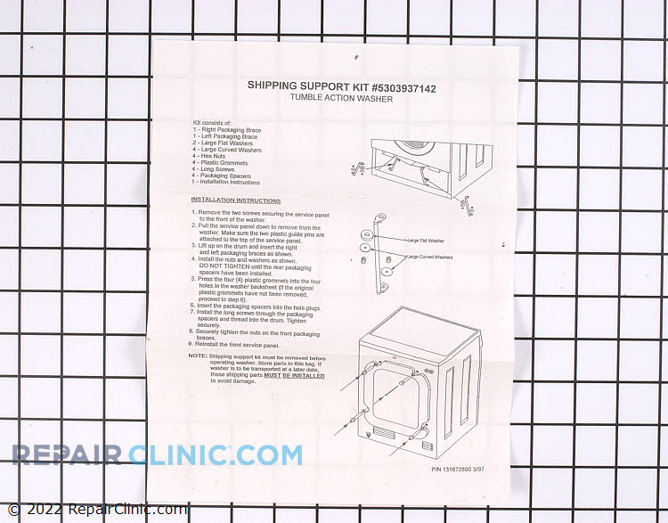 Shipping Bolt Kit 5303937142 Alternate Product View