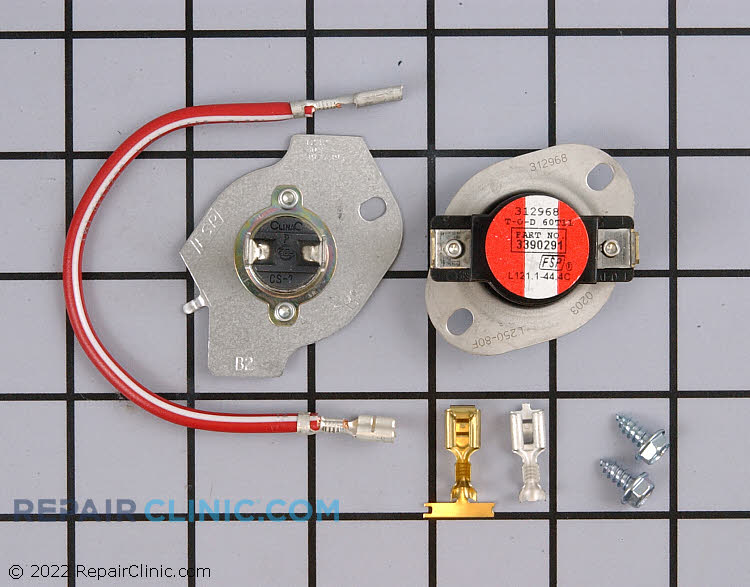 Dryer heating element thermal cut-off (thermal fuse) 309 degrees and high limit thermostat 250 degrees, with wiring kit. If the dryer does not heat the thermal cut off may have blown and a new high limit thermostat is needed.