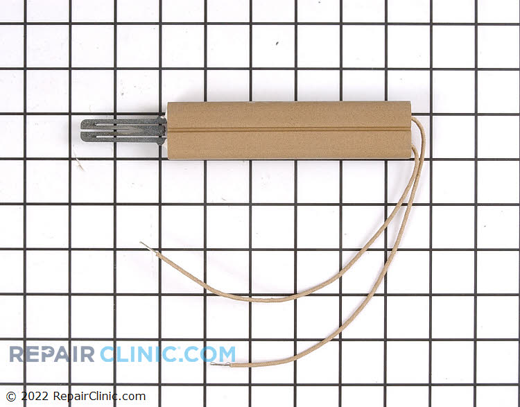 Oven igniter assembly. You must reuse the bracket from original igniter. If the oven does not heat check if the igniter is glowing, if so then there is a good chance the igniter is weak and will need repalcement.