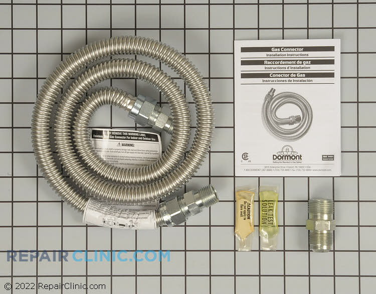 Gas range connector kit, 4 feet in length. <br>-Includes two 1/2 inch male/female connectors & one 3/4 inch male/female connector. Pipe thread sealent & leak test solution. Installation instructions.