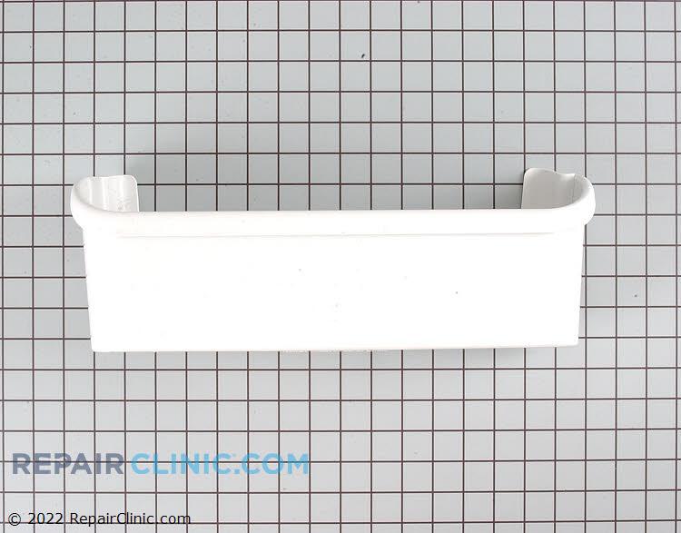 White refrigerator door shelf bin, bottom.