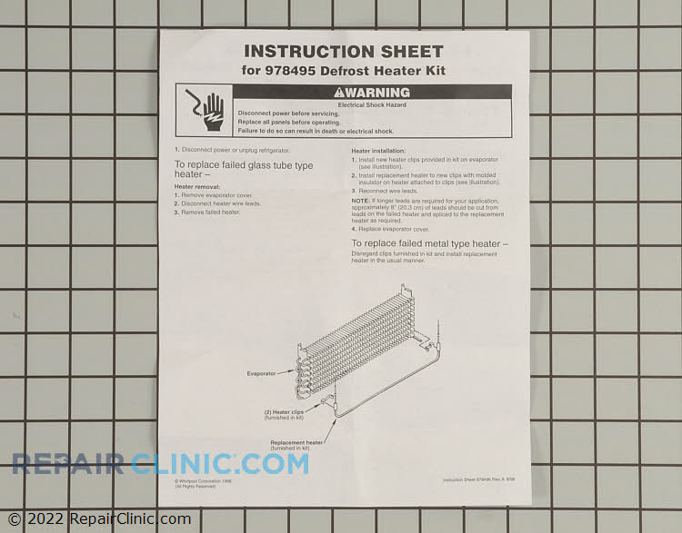 Defrost Heater Assembly 978495          Alternate Product View