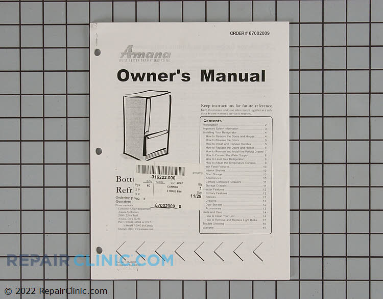 Owner's Manual 67002009        Alternate Product View