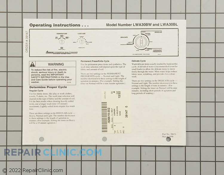 Manuals, Care Guides & Literature 39147 Alternate Product View
