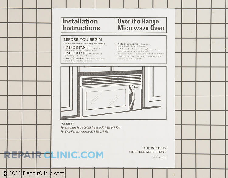 Installation Instructions 316137222 Alternate Product View