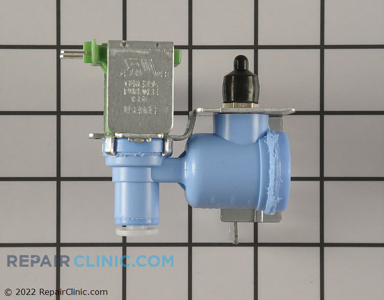 Refrigerator or freezer water inlet valve. This water inlet valve supplies water to your refrigerator's ice and water dispenser. If the water dispenser or ice maker isn't working, the water inlet valve might be defective.