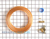 Copper ice maker water line kit• Includes 15 foot long 1/4 inch diameter copper tubing, drill type saddle valve, and all necessary hardware