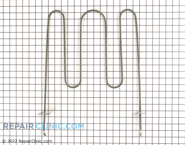 Oven broiler heating element with push-on terminals