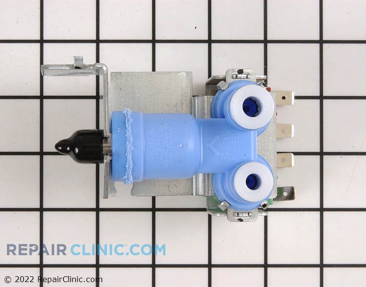 """Dual water inlet valve with 1/4"""" compression inlet fitting & push-in quick connect outlets. If original outlet tubes have nuts cut them off and gently push tubes into new valve quick connect ports. To release tubes push white plastic rings in."""