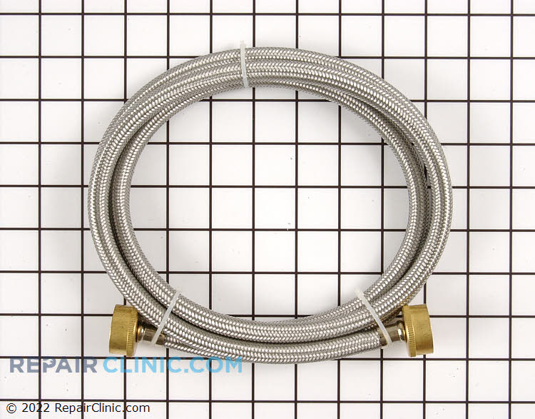 6 foot stainless steel hose with two rubber washers. For use with both hot and cold water.