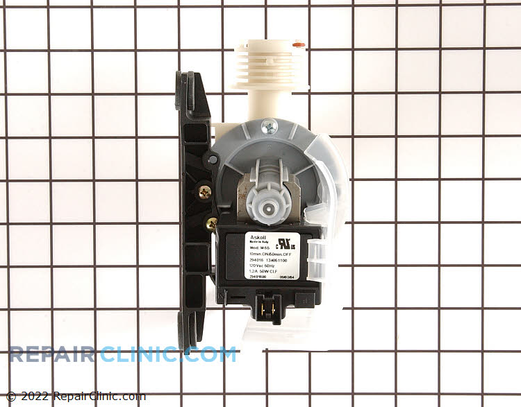 Washing machine drain pump. If the washer won't drain, the drain pump may be clogged, damaged, or defective.
