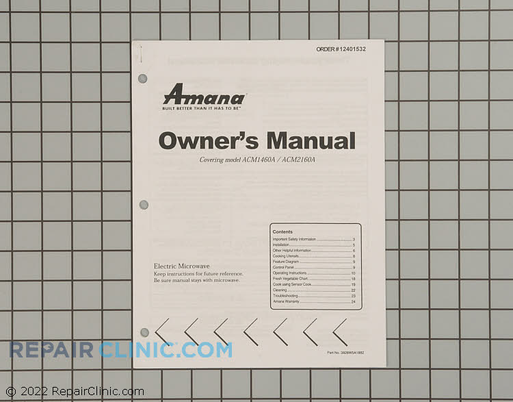 Owner's Manual 12401532 Alternate Product View