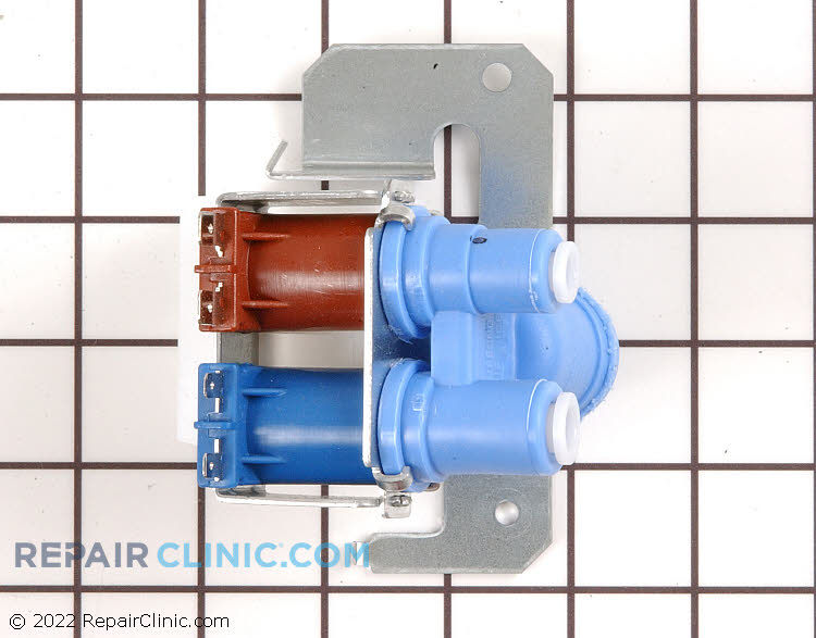 Refrigerator  water inlet valve assembly with quick connect fitting . To disconnect the tube, push the white retainer fitting in while pulling on the tube. If the cold water is not coming out of the water dispenser, or if the ice maker won't dispense ice, the water inlet valve may be at fault.