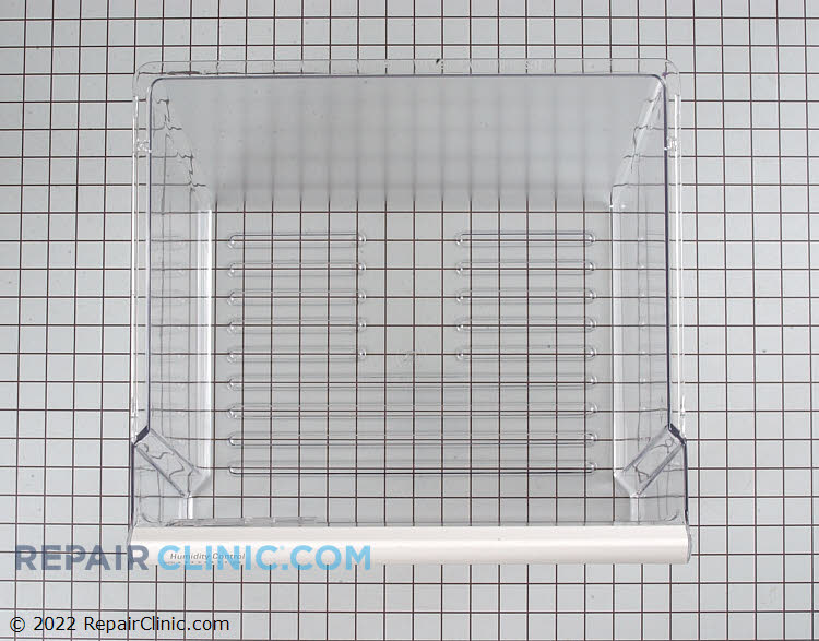 Refrigerator crisper drawer assembly. Clear plastic with humidity control & white handle trim .