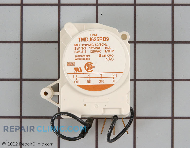 Defrost timer control. Turn the dial on the timer clockwise to advance it into and out of defrost.