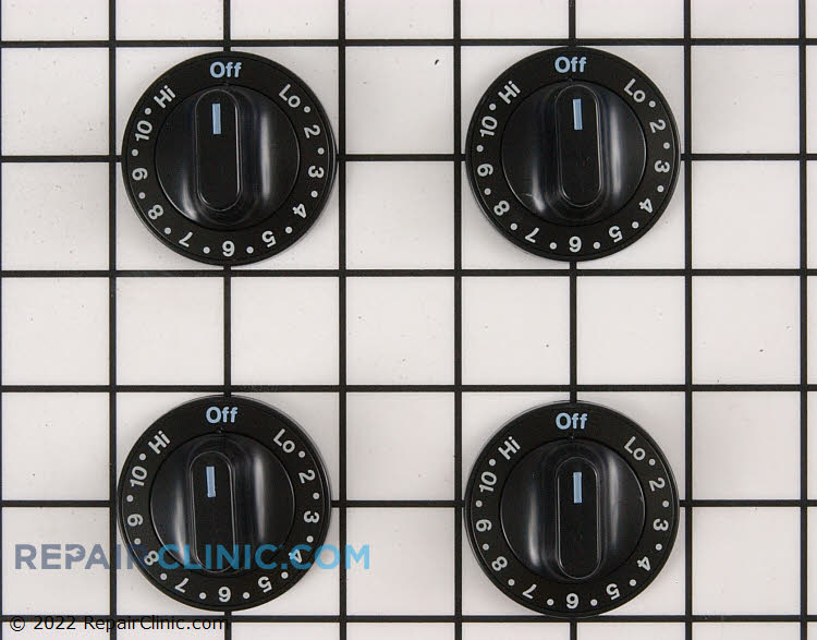 Electric range knob kit, includes 4 surface burner knobs, black, HI setting is to the left of OFF, for double flat shaft