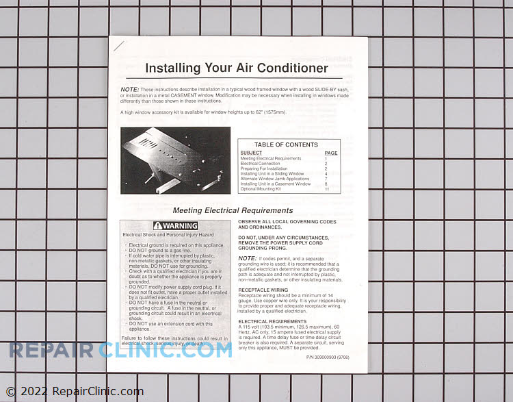 Installation Instructions 309000903 Alternate Product View