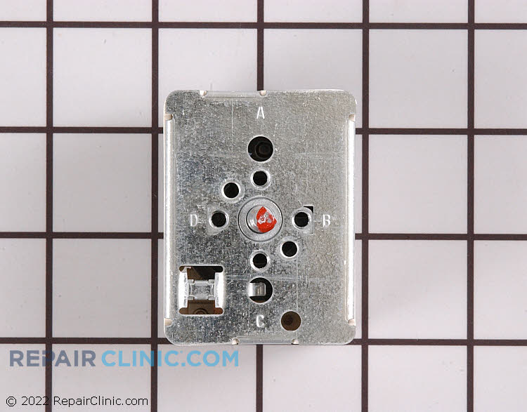 Surface element control switch for 8-inch burner. The surface element switch sends voltage to the surface element coil. If the switch is defective, the surface element will not work.