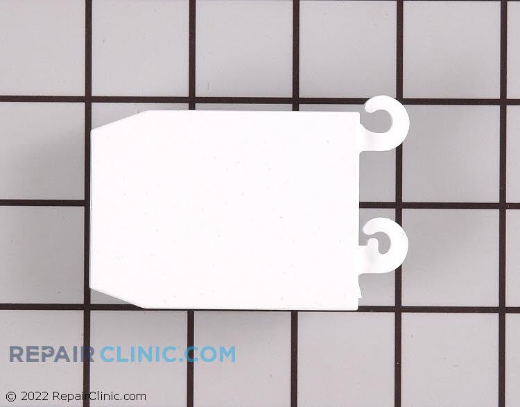 Door shelf retainer bar end cap, white, for left side