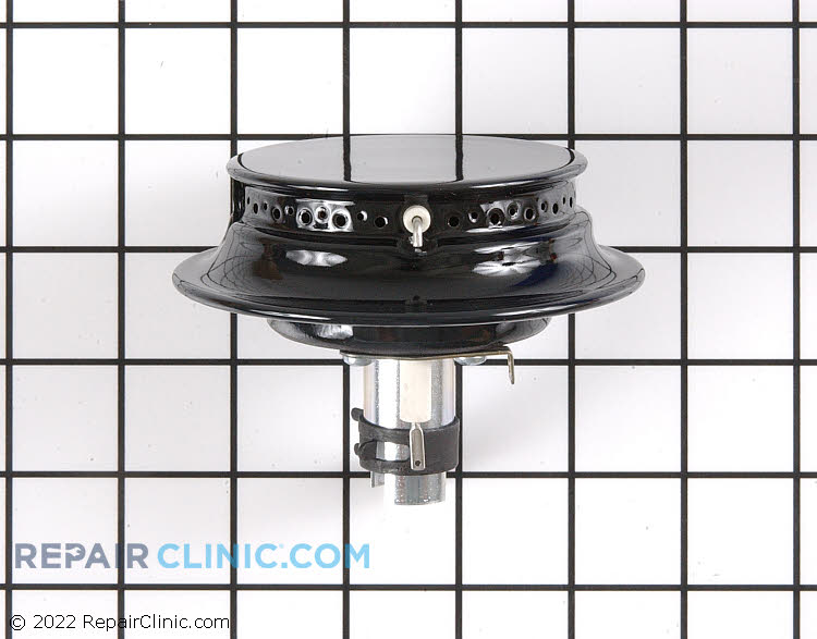 Sealed gas burner head assembly, 1 BLACK burner head with spark electrode. Rotate assembly counter clockwise to release burner from the main top. *No gasket seal required per manufacturer.